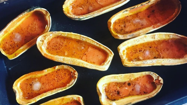 Roasted Delicatas with Spicy Carrot Glaze